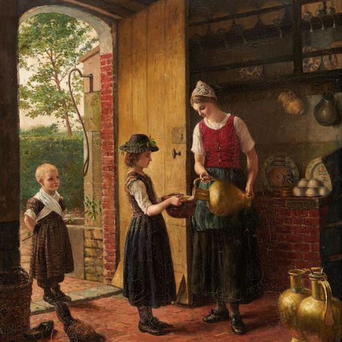Jan Arnold HEYERMANS École belge (1837 1892) Huile sur toile: Visite à la laitiè…