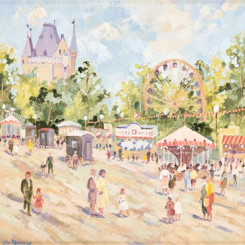 Albert RIGAUX École belge (1954) 布面油画:城堡前的集市。  签名:Alb.里高。  尺寸:50 x 50厘米。