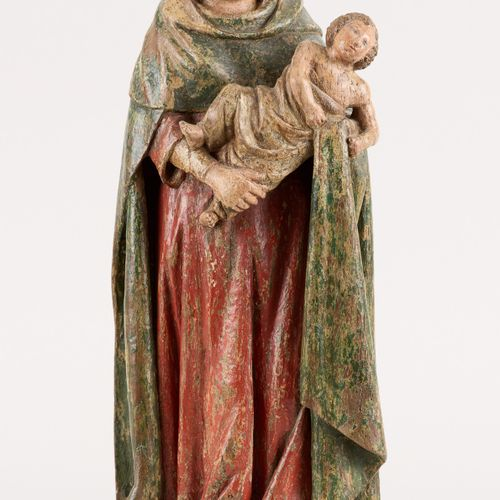Travail germano bourguignon circa 1600. 多色木雕:圣母与圣婴。  尺寸:高43.5厘米。