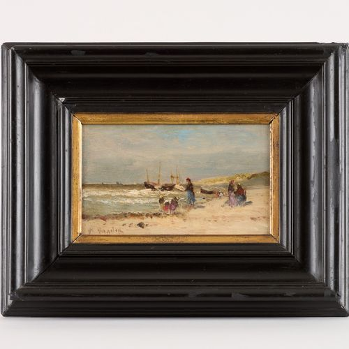 Victor Eugène DE PAPELEU École belge (1810 1881) 油画:在奥斯坦德的海滩上。  签名:Papeleu,背面有艺术…