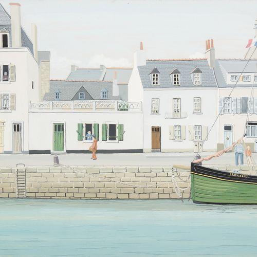 Micheline Evrard BOYADJIAN École belge (1923 2019) 纸上水粉画:Le Provident à quai.  签…