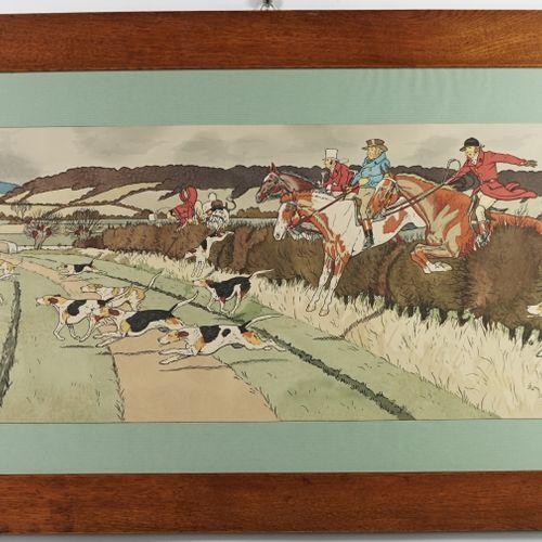 """哈利 艾略特(1882 1959)的作品,在 """"跳篱笆 """"之后  彩色石版画  总尺寸:87 x 51厘米"""