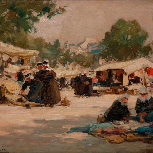 Henri BARNOIN (1882 1935)  Marché en Bretagne  Huile sur panneau.  Signée en bas…