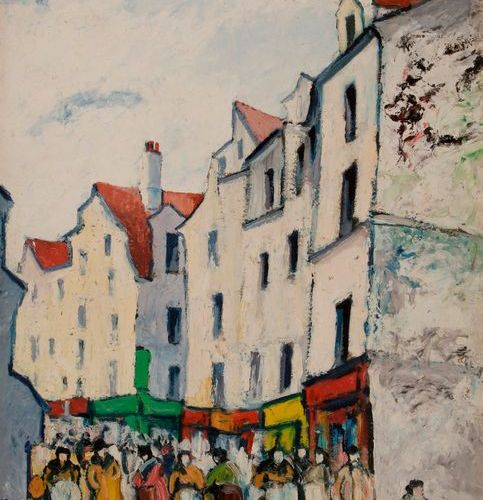 *Élisée MACLET (1881 1962)  Paris, rue Mouffetard, vers 1913  Huile sur carton. …
