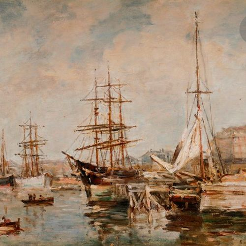 Charles François PÉCRUS (1826 1907)  Boats in port  Oil on canvas.  Signed lower…