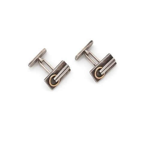 JEAN DESPRÉS (1889 1980 )Rare pair of modernist cufflinks in silver and gold. Th…