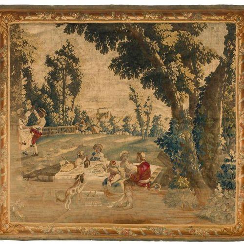 Tapisserie d' Aubusson représentant une fête champêtre; (réduites en dimensions…