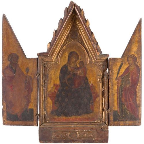 École OMBRIENNE circa 1380 The Virgin and Child, between Saint Peter and Saint C…