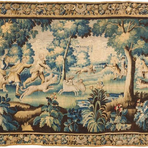 Tapestry of the March, decorated with a hunt of wolves attacking sheep and pursu…