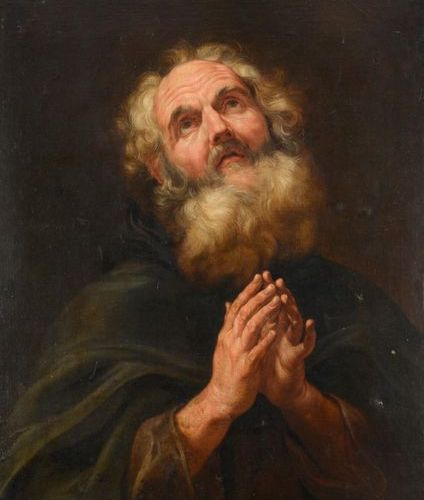 Battista GAULLI dit il Bacciccio (1639 1709) Saint Anthony abbot in prayer Canva…