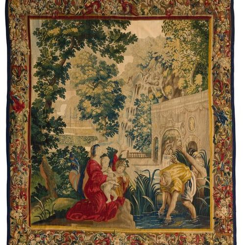 Oudenaarde tapestry representing Latona and the peasants of Lycia, the border de…