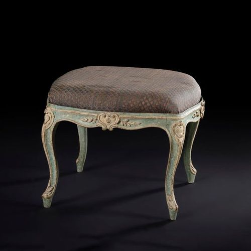 Stool with moulded, carved and painted wooden frame in an eventful shape, decora…