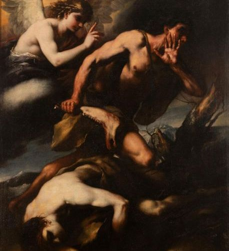 Luca GIORDANO (Naples, 1632 1705) Cain and Abel Web. Signed lower right: JORDANU…
