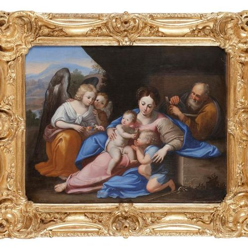 Seventeenth century Bolognese school The Holy Family with St John the Baptist an…