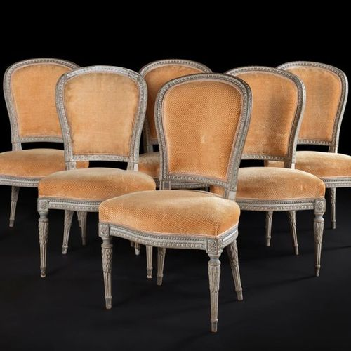 A suite of six painted wooden chairs with cabriolet backs and raise de coeur dec…