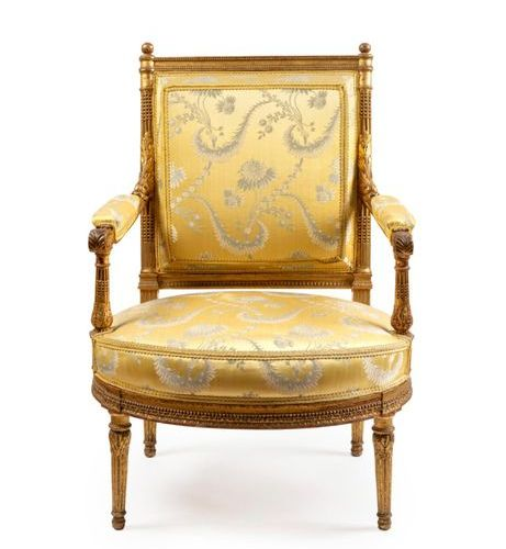 Large armchair with a flat back in moulded, carved and gilded wood, the rounded …