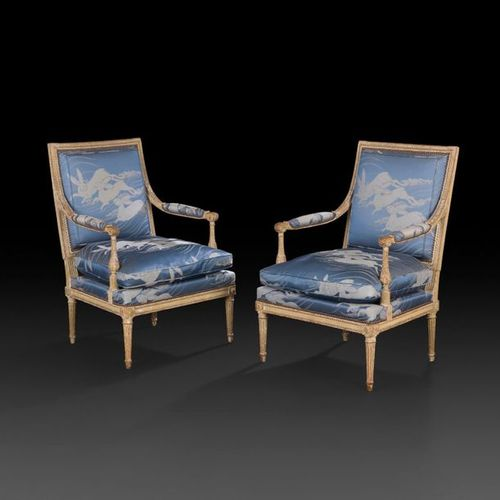 Pair of painted beechwood armchairs, with flat rectangular back, decorated with …