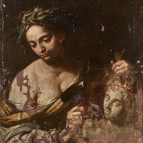 17th century EMILIENNE SchoolSculpture CategoryCanvas . Ancient restorations, la…