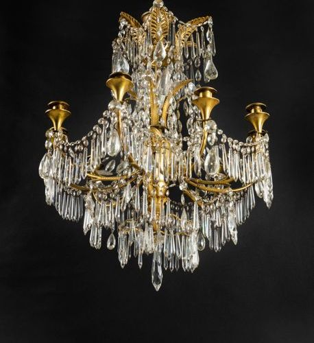 *Gilt bronze chandelier and ten light cut glass, the shaft entirely of gilt bron…