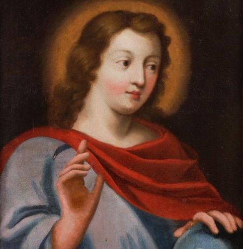 17th century FRENCH schoolChrist en Salvato r MundiToile. Ancient restorations .…