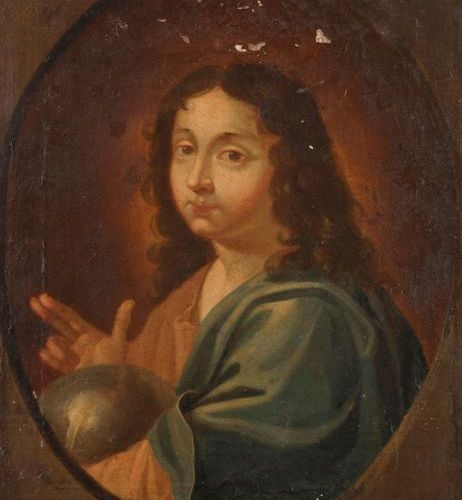 17th century FRENCH school Christ in a painted oval Canvas. Old restorations, la…