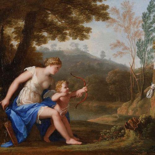 Jacques STELLA (Lyon, 1596 Paris, 1657) The training of Love Canvas. Ancient res…