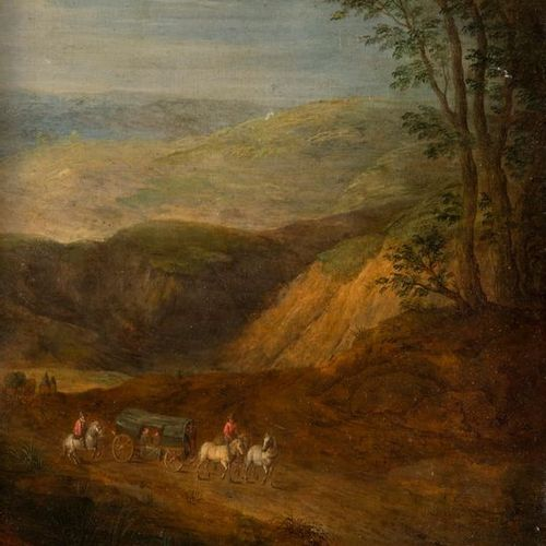 In the taste of Jan BRUEGHELTravelling in a mountain landscapePanel with parquet…