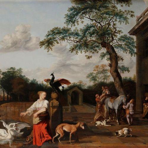 Abraham HONDIUS (Rotterdam, ca. 1625 London, 1695) Lively palace courtyard Four …
