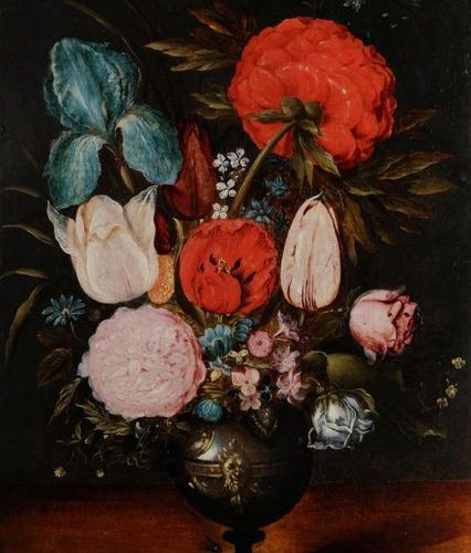Ecole ANVERSOISE vers 1620 1630 Still life with a bouquet of flowers on an entab…