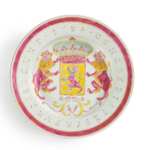 ChinaRare set of six porcelain plates with polychrome decoration of the enamels …