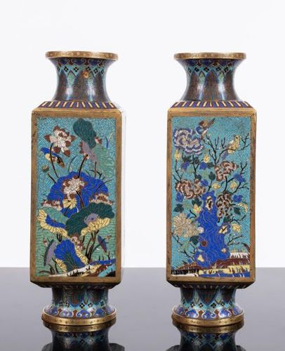 ChinaPair of gilt bronze vases and cloisonné enamels . Jiaqing period (1796 1820…