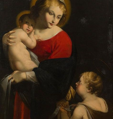 17th century ITALIAN school Virgin and Child with St. John the Baptist Canvas. O…