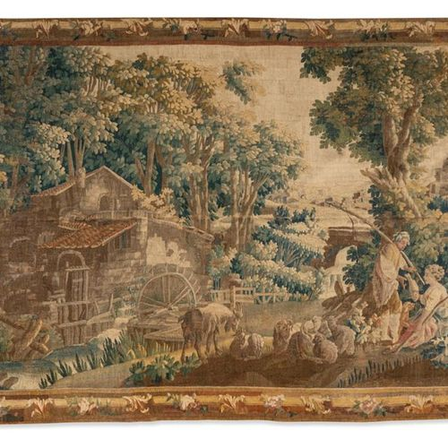 18th century Aubusson Tapestry with an important mill on the left and a shepherd…
