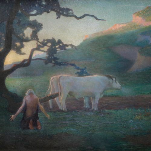 Raymond THIBÉSART (1874 1968) Le Repos du Laboureur, 1898 Oil on canvas. Signed …