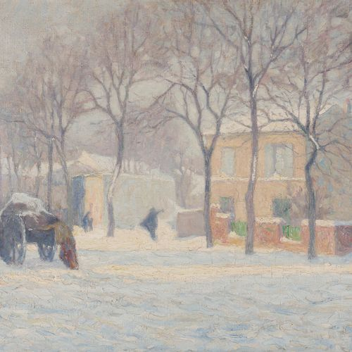 Raymond THIBÉSART (1874 1968) Snowy street, 1909 Oil on canvas. Signed and dated…