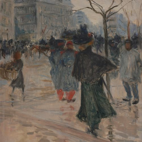 Abel TRUCHET (1857 1918) Paris animated Oil on canvas. Signed lower left. 55 x 3…