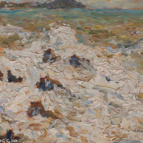Emilio BOGGIO (1857 1920) Sea foam in Portofino, 1908 Oil on panel. Signed lower…