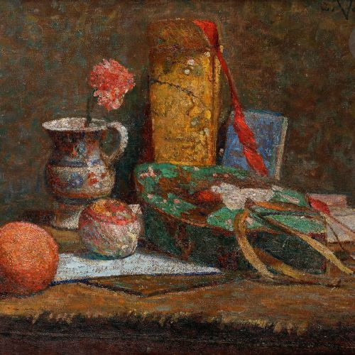 Ludovic VALLÉE (1864 1939) Still life with Japanese objects, ca. 1900 Oil on can…