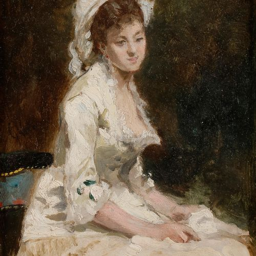 Jules CHÉRET (1836 1932) Young woman in white dress Oil on panel. Signed on the …