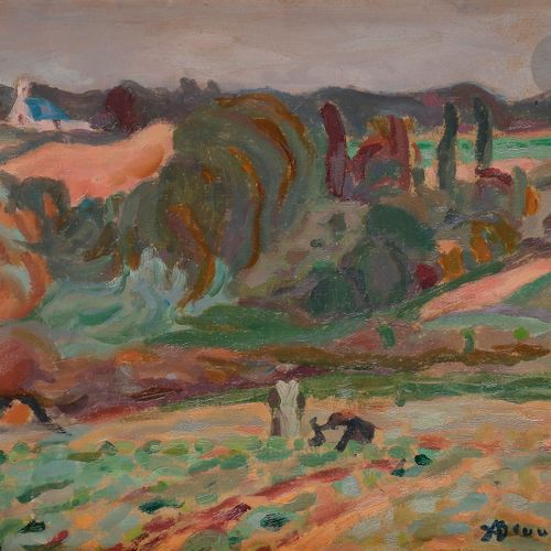 Adolphe Marie BEAUFRÈRE (1876 1960) Paysannes aux champs Oil on paper pasted on …