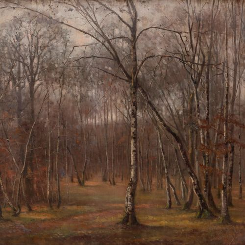 Émile NOIROT (1853 1922) The Forest of Fontainebleau, 1877 Oil on canvas pasted …