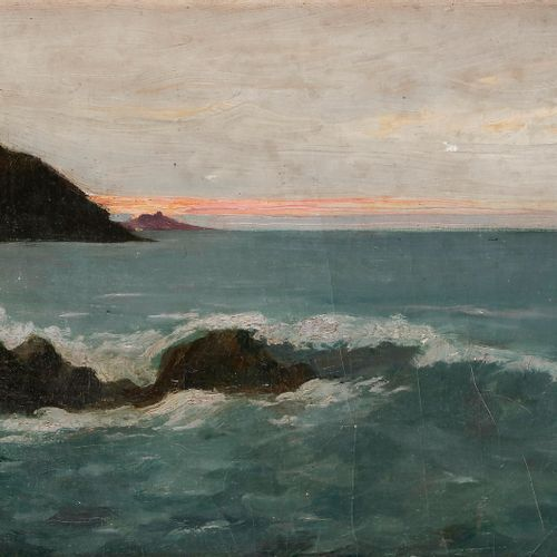 Auguste MATISSE (1866 1931) Seaside at dusk Oil on canvas pasted on cardboard. S…