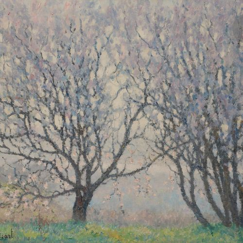 Raymond THIBÉSART (1874 1968) Trees in Bloom and the Seine Valley, ca. 1930 Oil …