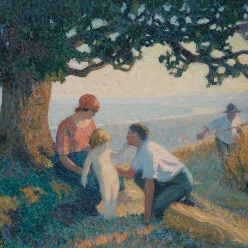 Raymond THIBÉSART (1874 1968) Les Moissonneurs, ca. 1905 10 Oil on canvas. Bears…