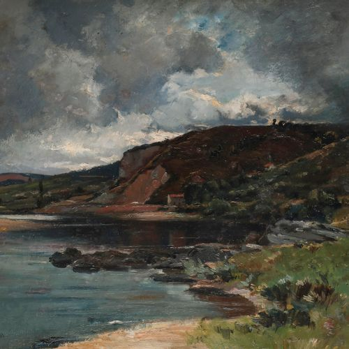 Émile NOIROT (1853 1922) Soir d'orage sur le lac, 1889 Oil on canvas. Signed low…