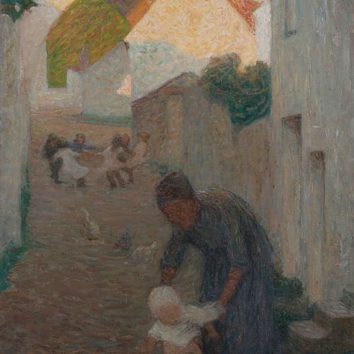 Raymond THIBÉSART (1874 1968) Animated street, 1903 Oil on canvas. Signed and da…