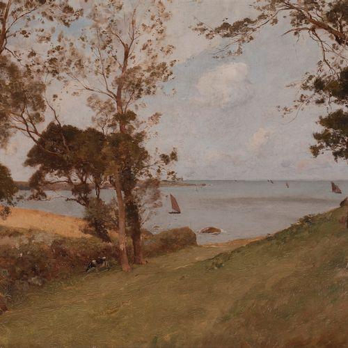 Paul LECOMTE (1842 1920) Seaside landscape Oil on canvas. Signed lower right. 38…