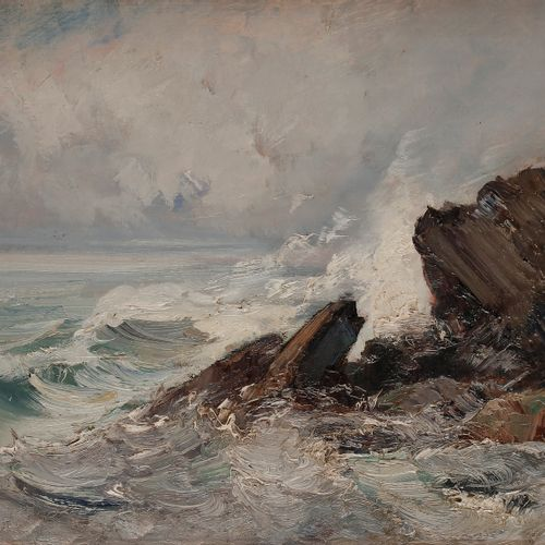 Émile NOIROT (1853 1922) Mer agée à Yport, 1902 Oil on canvas. Signed, dated and…