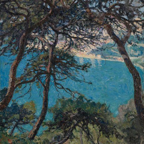 Raymond THIBÉSART (1874 1968) Villefranche through the pines, 1930 Oil on canvas…