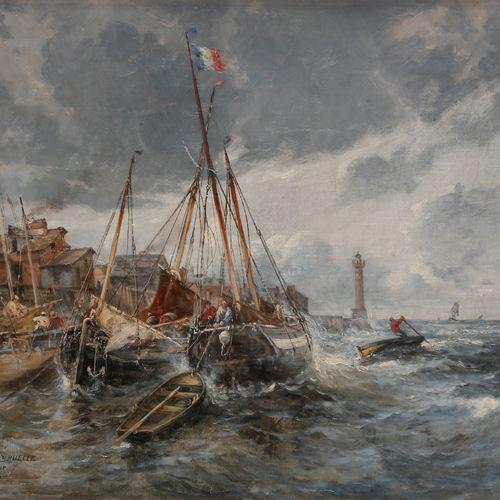 Gaston BRUELLE (1849 1884) Gaston BRUELLE (1849 1884) Gros temps à Honfleur, 187…